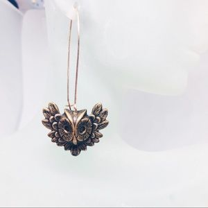 Bronze Tone Owl Dangle Earrings